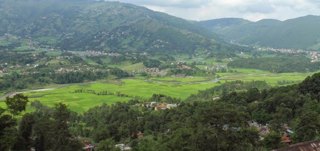 Green rice valley as seen from Changgu Narayan Temple view point