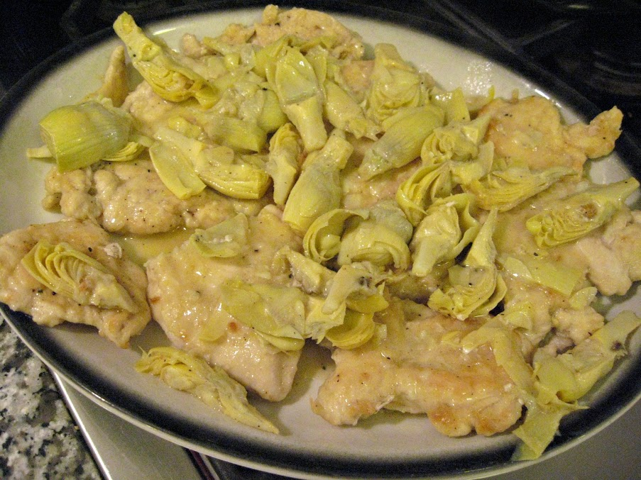 Artichoke Hearts cooking in the pan Lemon Chicken with Artichoke ...