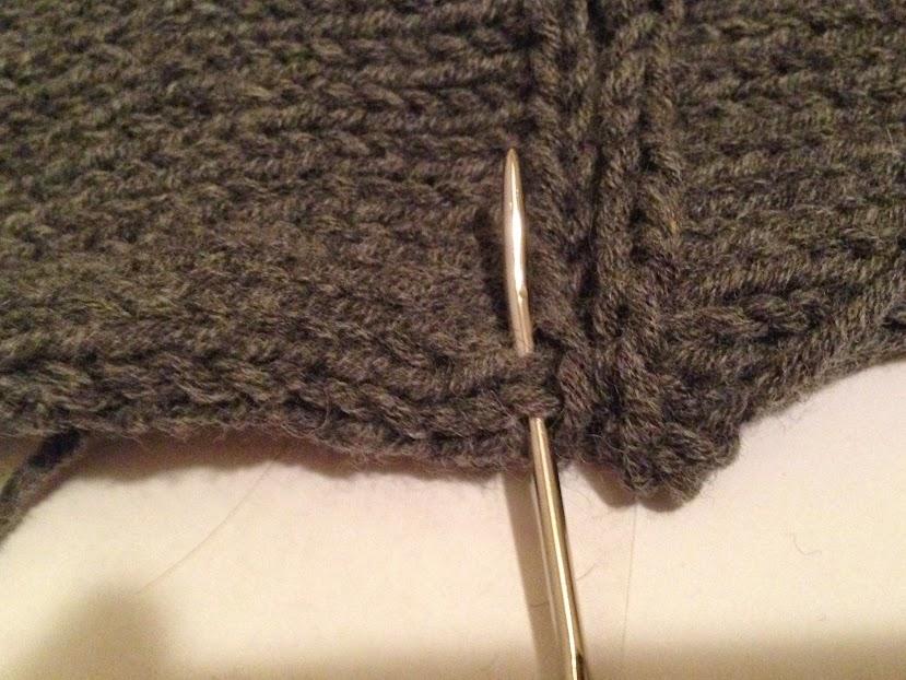 Beginning mattress stitch on back.