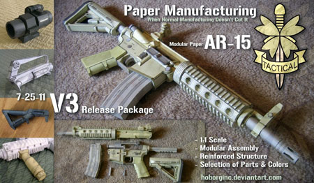 AR15 Papercraft Assault Rifle