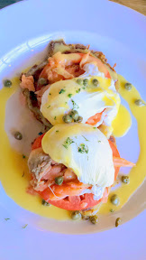 First National Taphouse Portland Brunch includes several Boxty topped with eggs (a boxty is an Irish Potato Pancake), such as the one I tried below with smoked wild salmon, poached egg, capers, tomato, and touch of  Hollandaise
