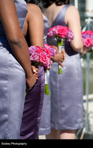 pink and purple bridemaids