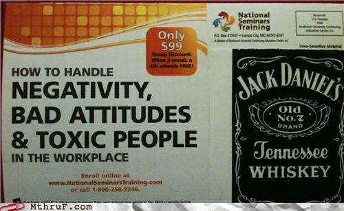photo of a seminar to fight bad attitudes at work...Jack Daniels