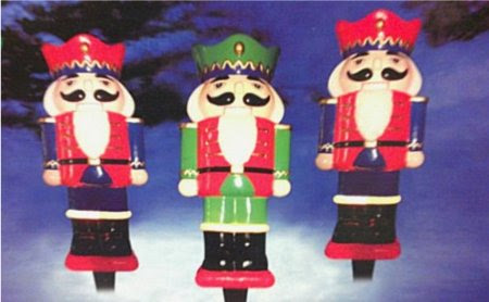 3pc Christmas Nutcracker Lighted Path Lights - Pathway Walk Lawn Stakes