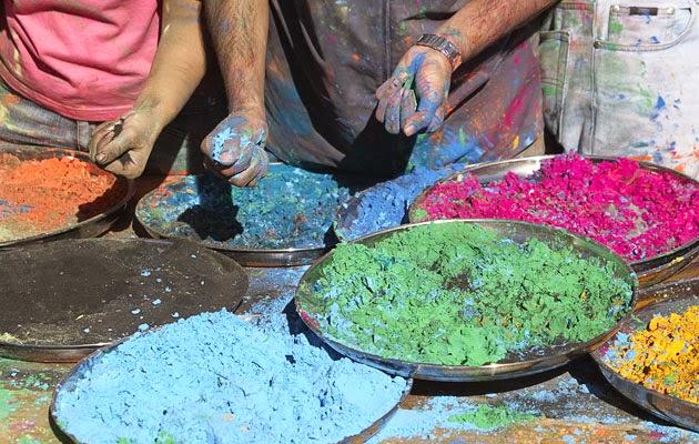 Man preparing to celebrate the holi festival