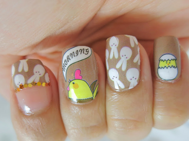 Easter Bunny and Chicks Nail Wrap Nail Art A1033