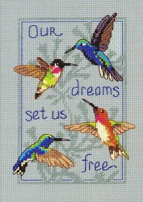 Four hummingbirdscross stitch pattern