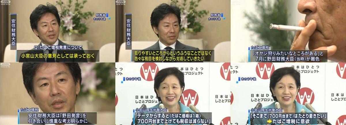 小宮山洋子厚生労働大臣のタバコ増税発言