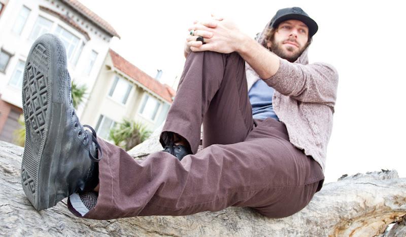 Brown BTW: Ben sits on Log