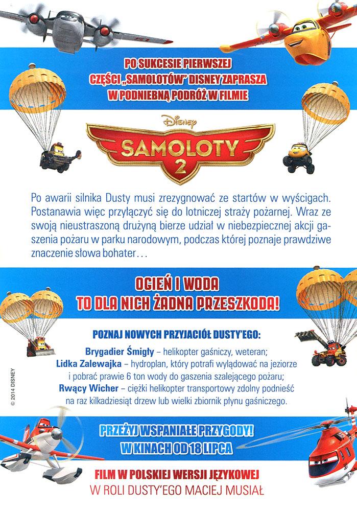 Ulotka filmu 'Samoloty 2 (tył)'
