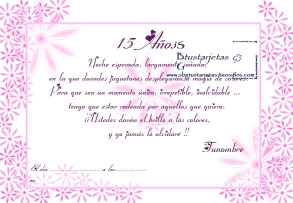Ejemplo Texto Invitación Xv Años Imagui