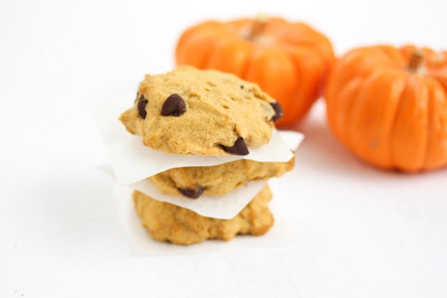 close-up photo of a stack of three Pumpkin Chocolate Chip Cookies
