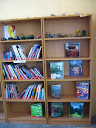 One of the bookshelves in the Mahlahluvana library, with many of the Art Club sculptures proudly displayed.