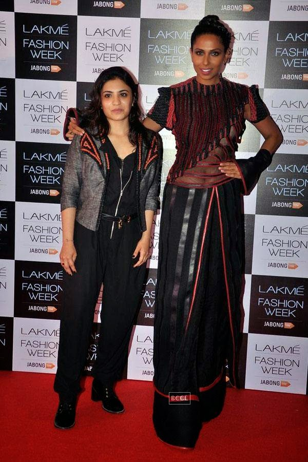 Candice Pinto and fashion designer Neha Agarwal during Lakme Fashion Week curtain-raiser, held in Mumbai, on July 28, 2014. (Pic: Viral Bhayani)