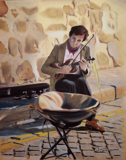 En busca de un sueño,obra en pastel del pintor Oscar Jiménez
