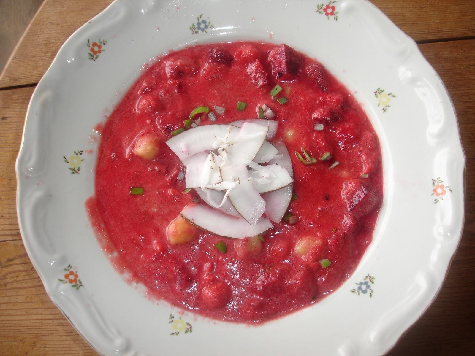 Vegetarisch Rote Bete Suppe Mit Kichererbsen Und Kokosnuss