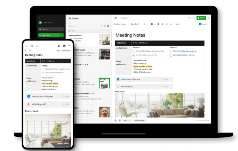 Evernote note-taking and organization app for desktop and mobile