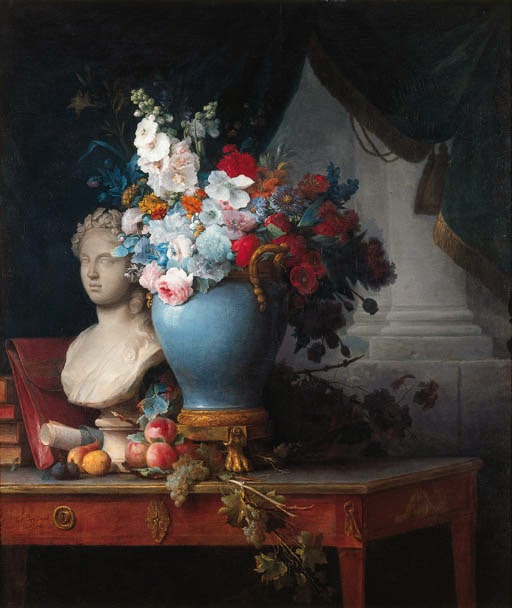 Anne Vallayer-Coster - Vase of Flowers with a Bust of Flora