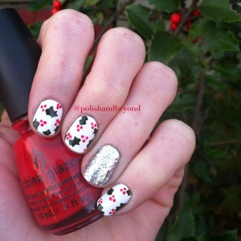Polish And Beyond Christmas Holly Nail Art