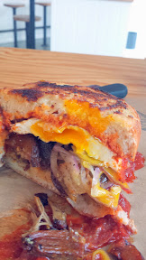 May 2014 Lardo Chefwich with Mi Mere Mole, Portland Ahogado that includes Pork belly, potato, re-fried beans, egg, red onion, red chile sauce