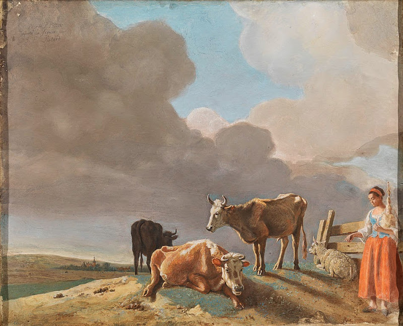 Jean-Etienne Liotard - Landscape with Cows, Sheep and Shepherdess
