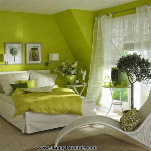Thiết kế nội thất phòng ngủ với gam màu xanh tươi mát_CONG TY NOI THAT-2