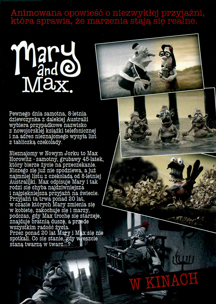 Ulotka filmu 'Mary i Max (tył)'