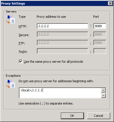 Gpo bypass proxy server for local addresses