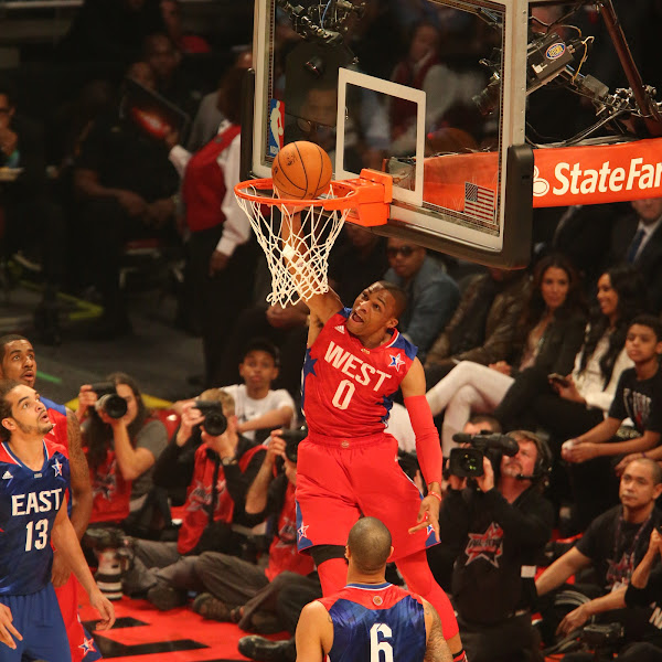 Russell Westbrook #0 of the Western Conference All-Stars goes up for the dunk against the Eastern Conference All-Stars during 2013 NBA All-Star Game on February 17, 2013 at Toyota Center in Houston, Texas.