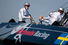 J/24 World Champion Terry Hutchinson sailing AC45 catamaran at Americas Cup World Series
