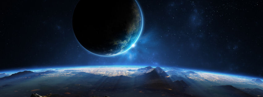 Distant planet 3d facebook cover