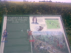 Winceby Battlesite information board with the field of conflict in the background