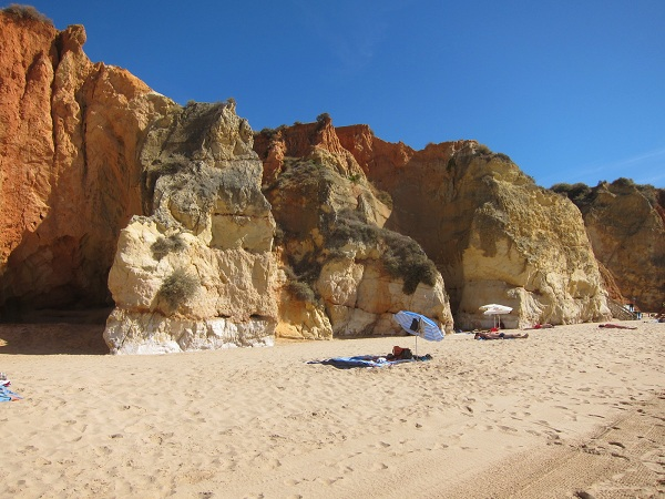 portugal algarve portimao cliff beach