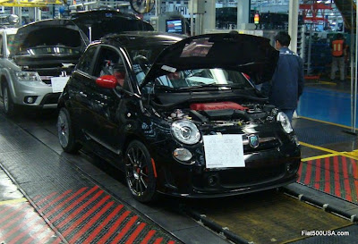 Fiat 500 Abarth on assembly line
