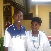 Janet Koroma and friend at Langham Preaching in Sierra Leone, 2011