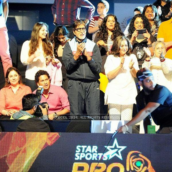 (L to R)Anjali Tendulkar, Sachin Tendulkar, Amitabh Bachchan, Tina Ambani and Jaya Bachchan during the opening match of Pro-Kabbadi League, held in Mumbai, on July 26, 2014. (Pic: Viral Bhayani) <br />