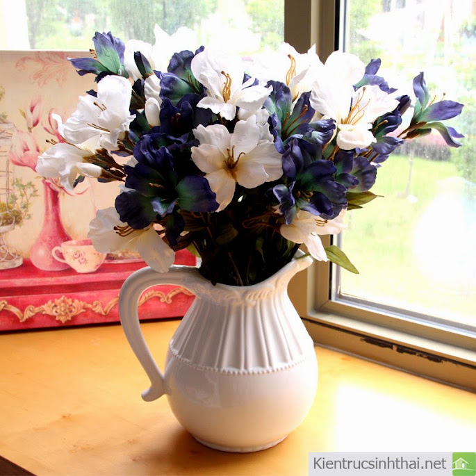 Blue classical 12 lily oil painting artificial flower fashion home accessories 16+copy Hoa vải trang trí