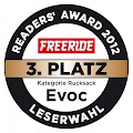 EVOC wurde in der Ketegorie Rucksäcke auf den 3 Platz von den Lesern der Freeride gewählt