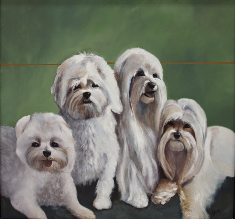 Portrait of 4 Dogs