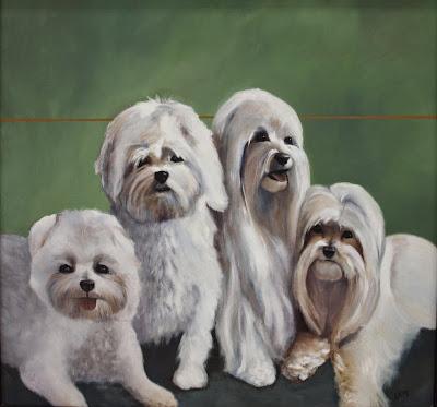 Portrait of 4 Dogs