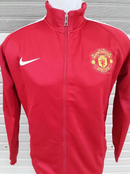 Jaket Manchester United Merah Polos List Putih 2014-2015