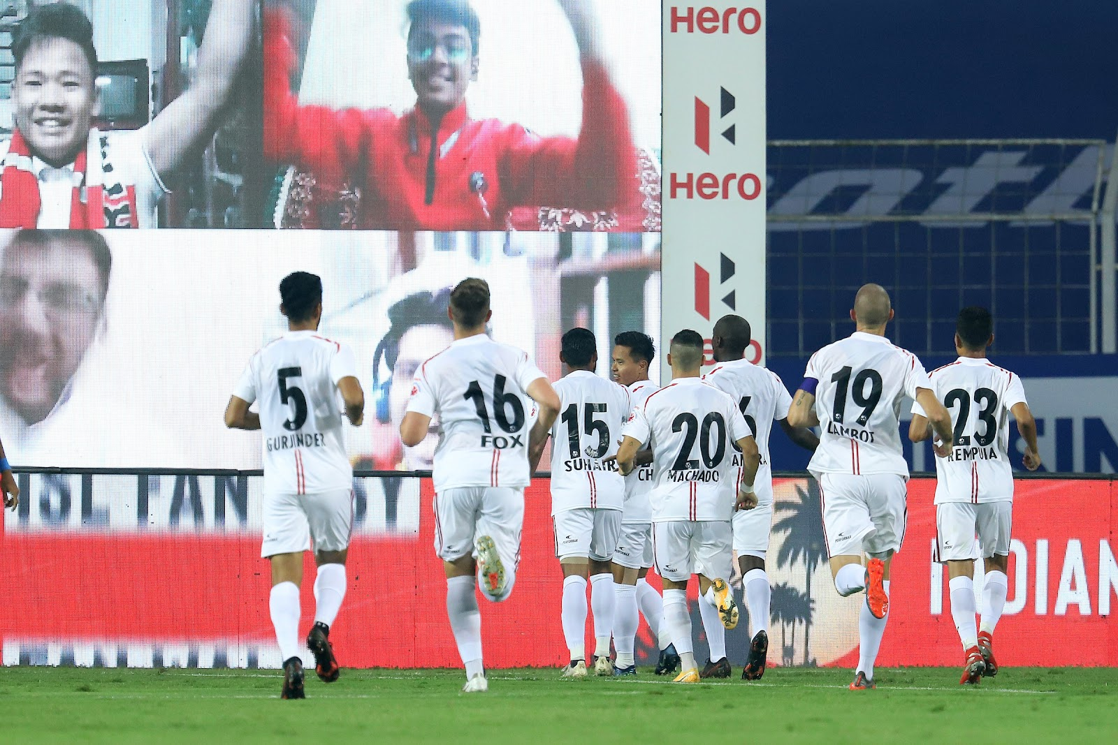 NorthEast United players celebrating the goal by VP Suhair