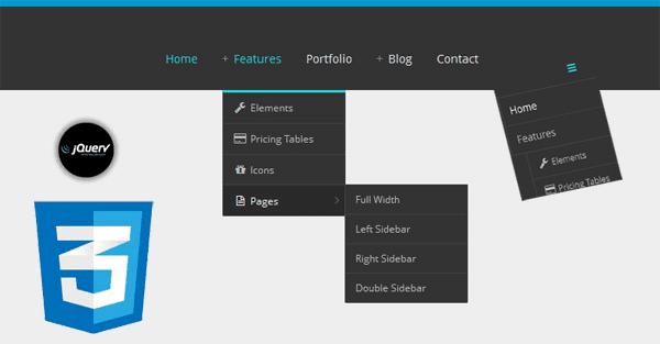 Responsive Drop Down Menu jQuery CSS3 Using Icon Symbol