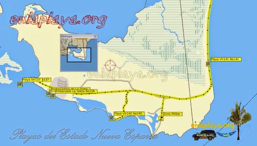 Mapa de Playas del sector La Isleta