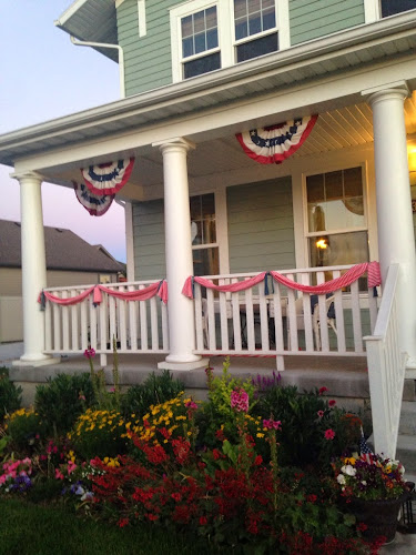Red white and blue porch, porch ideas, white porch