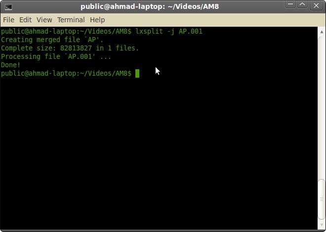Cara Menggabungkan dan Memecah Film/File di Ubuntu