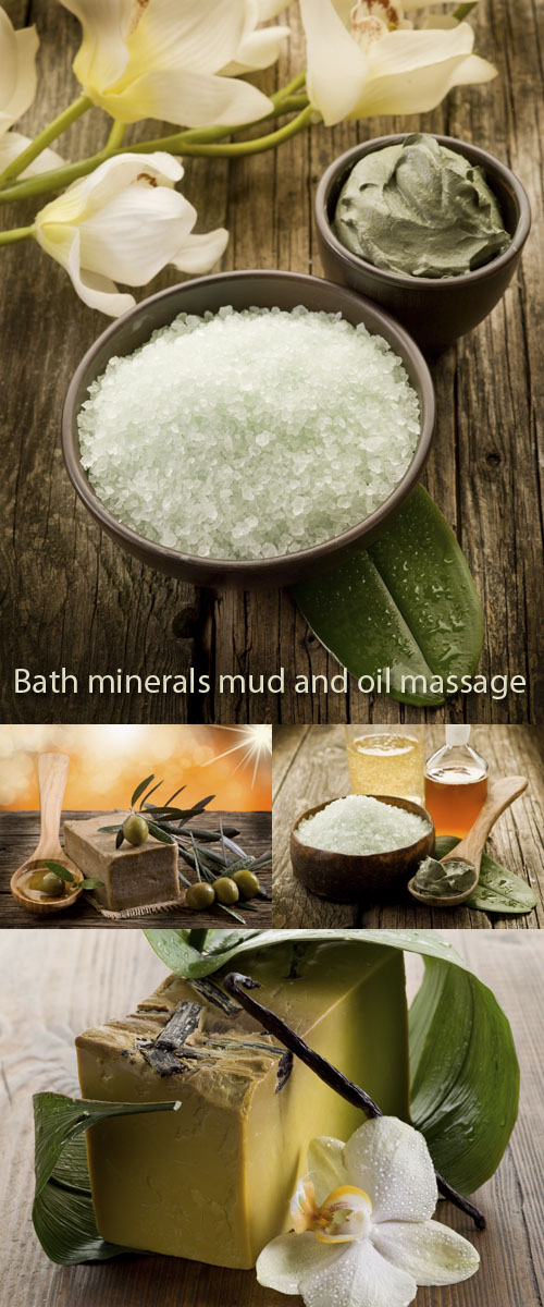 Stock Photo: Bath minerals mud and oil massage