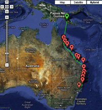 J/122 delivery route map from Australia to New Guinea