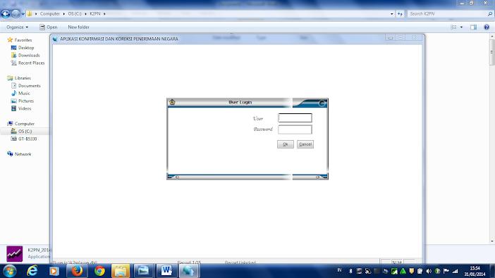 Form Login Aplikasi KP2N Satker