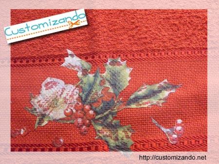Customizando uma toalha para o Natal